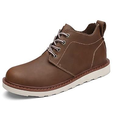 Férfi cipő PU Tavasz Ősz Katonai csizmák Kényelmes Csizmák Bokacsizmák Fűző mert Hétköznapi Fekete Kávé Világosbarna
