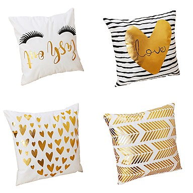 4 pcs Velvet / Natural / Organic / Polyester Pillow Cover / Pillow Case, Textured Heart shape / Modern / Contemporary / Traditional /