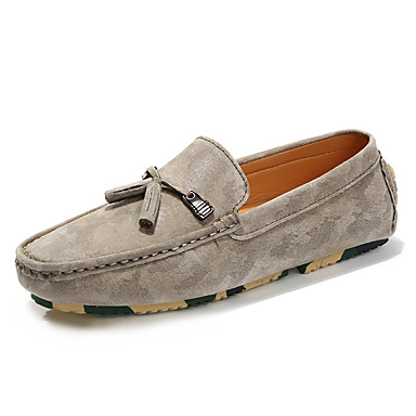 Men's Moccasin Suede Fall / Winter Loafers & Slip-Ons Black / Beige / Gray / Party & Evening