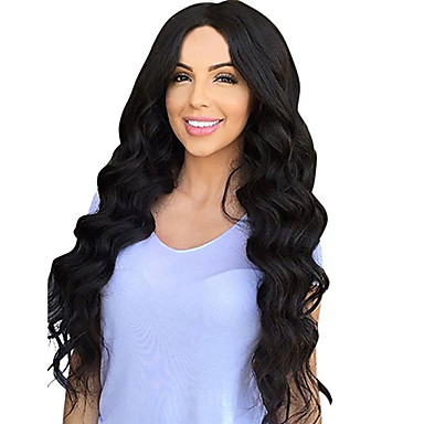 Synthetic Wig Loose Wave Synthetic Hair Middle Part Black Wig Women's Long Capless