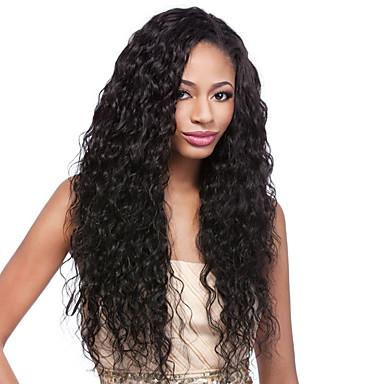 Emberi haj Tüll homlokrész / Csipke eleje Paróka Brazil haj Hullám Paróka 130% Baba hajjal / Természetes hajszálvonal / 100% kézi csomózású Női Rövid / Közepes / Hosszú Emberi hajból készült parókák