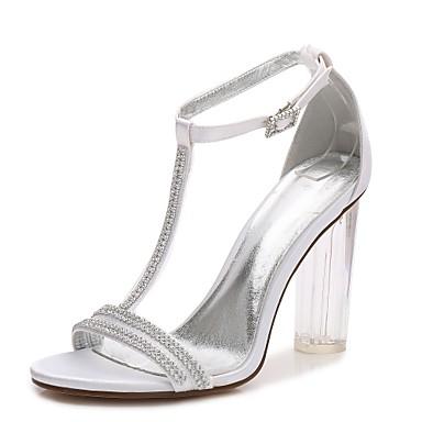 Női Cipő Szatén Tavasz Nyár T-pántos Magasított talpú Boka pántos átlátszó Cipő Esküvői cipők Vaskosabb sarok Áttetsző Heel Kristály sarok