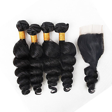 4 Bundles Brazilian Hair Loose Wave Virgin Human Hair Natural Color Hair Weaves Human Hair Weaves Human Hair Extensions