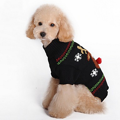 Cat Dog Coat Sweater Dog Clothes Reindeer Black Red Spandex Cotton/Linen Blend Costume For Pets Party Casual/Daily Cosplay Keep Warm