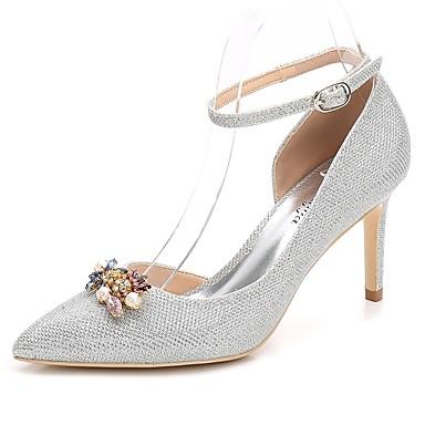 Női Cipő Csillogó flitter Tavasz / Ősz Magasított talpú / Boka pántos Esküvői cipők Tűsarok Erősített lábujj Strasszkő / Kristály /