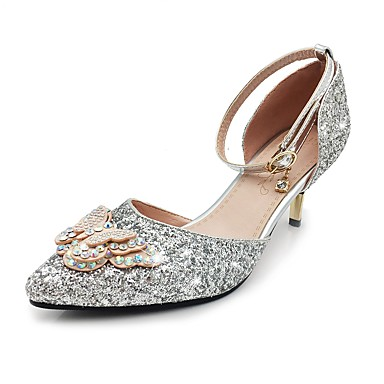 Women's Sparkling Glitter / Paillette Spring / Summer Basic Pump / Ankle Strap Heels Stiletto Heel Pointed Toe Bowknot / Sequin / Sparkling Glitter Gold / Silver / Wedding / Party & Evening / Buckle