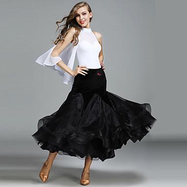 Ballroom Dance Outfits Women's Performance Tulle Velvet Ice Silk Sleeveless Natural Skirts Leotard / Onesie