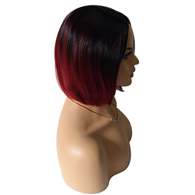Synthetic Wig Straight Synthetic Hair Ombre Hair / Dark Roots Red Wig Women's Medium Length Capless Black / Dark Wine