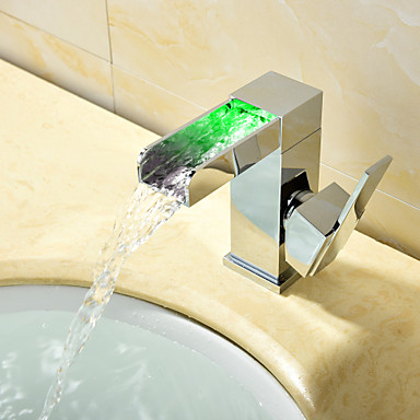 Contemporary Modern Style LED Centerset Waterfall Ceramic Valve Single Handle One Hole Chrome, Bathroom Sink Faucet
