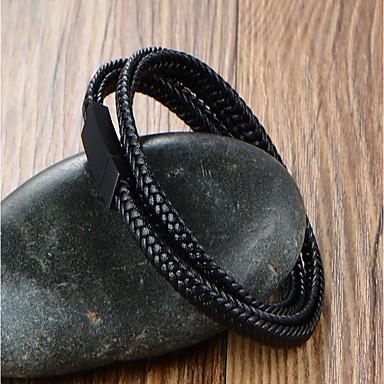 Férfi Bőr Többrétegű Bőr Karkötők Wrap Karkötők - Klasszikus Többrétegű Geometric Shape Fekete Karkötők Kompatibilitás Napi Munka