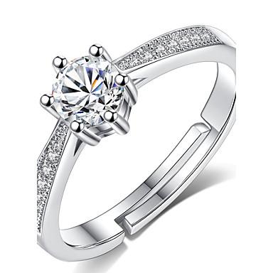 Páros Kocka cirkónia Páros gyűrűk / mandzsetta Ring - Klasszikus, minimalista stílusú Állítható Ezüst Kompatibilitás Esküvő / Eljegyzés
