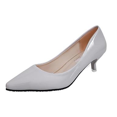 Női Cipő PU Tavasz Nyár Kényelmes Magassarkúak Cicasarok Erősített lábujj mert Ruha Fekete Ezüst Szürke Rózsaszín