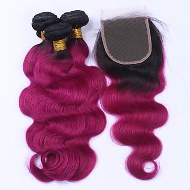 Maláj haj Hullámos haj Emberi haj Hair Vetülék, zárral Emberi haj sző Human Hair Extensions
