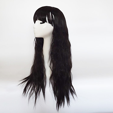 Synthetic Wig Wavy Asymmetrical Haircut / With Bangs Synthetic Hair Natural Hairline Black Wig Women's Long Capless