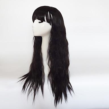 Szintetikus parókák Hullámos Aszimmetrikus frizura / Bretonnal Szintetikus haj Természetes hajszálvonal Fekete Paróka Női Hosszú Sapka nélküli