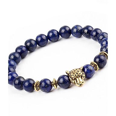abordables Bracelet-Bracelet à Perles Bracelet Bracelet de bonne chance Homme Femme Onyx Naturel Mode Bracelet Bijoux Bleu de minuit Rond Léopard pour Cadeau Vacances