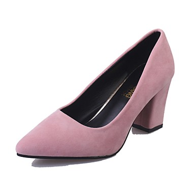 Női PU Nyár Kényelmes Magassarkúak blokk Heel Erősített lábujj Fekete / Világos szürke / Rózsaszín / Ruha