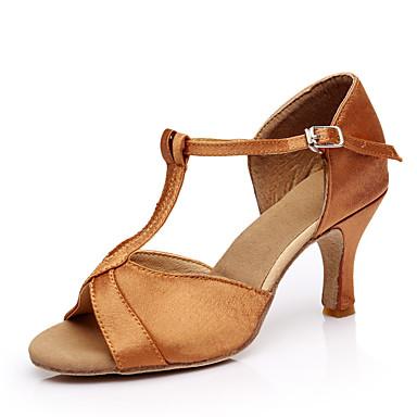 preiswerte Tanzkleider & Tanzschuhe-Damen Seide Schuhe für den lateinamerikanischen Tanz Absätze / Sneaker Maßgefertigter Absatz Maßfertigung Braun / Leistung