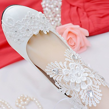 4a195ecf3 Women s Shoes Lace   Leatherette Spring   Fall Comfort Wedding Shoes Round  Toe Rhinestone   Bowknot   Appliques White   Party   Evening
