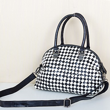 Women's Bags Cowhide Tote Tiered Black / White