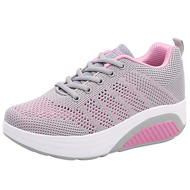 Women's Shoes Breathable Mesh / Fabric Spring / Summer Comfort Sneakers Round Toe / Closed Toe Lace-up Purple / Fuchsia / Pink