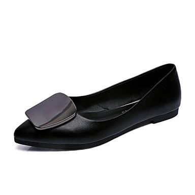 Női Cipő PU Ősz Kényelmes Félcipők Alacsony Kerek orrú Fűző Fekete / Piros / Világosbarna