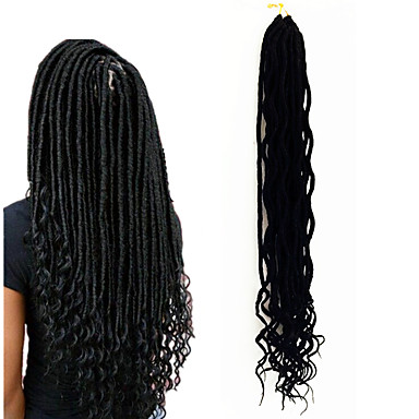 Braiding Hair Curly Dreadlocks / Faux Locs / Hair Accessory / Human Hair Extensions 100% kanekalon hair / Kanekalon 24 roots / pack Hair Braids Ombre Medium Length Ombre Braiding Hair Daily