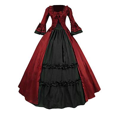 Μεσαίωνα Victorian Στολές Γυναικεία Φορέματα Χορός μεταμφιεσμένων Κοστούμι πάρτι Κόκκινο Πεπαλαιωμένο Cosplay Δαντέλα Βαμβάκι Τερυλίνη
