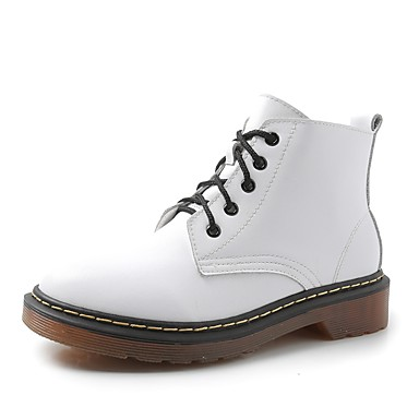 Women's Shoes Leatherette Spring / Fall Comfort Boots Round Toe White / Black