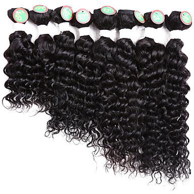 levne Hair Extensions-8 svazků Brazilské vlasy Klasický Velké vlny 10A Remy vlasy Tónované 8-14 inch Černá Tónované Lidské vlasy Vazby Žhavá sleva Rozšíření lidský vlas