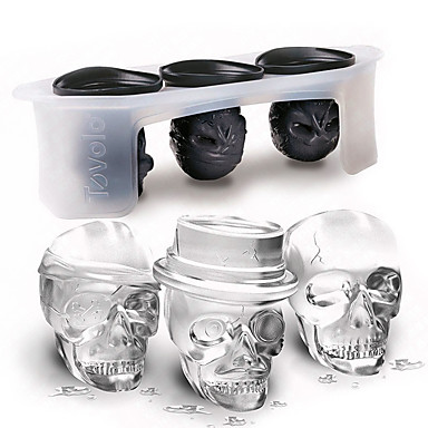 3pcs 3D Skull Shape Ice Mold Set Halloween Silicone Ice Cube Tray Home Kitchen Tool