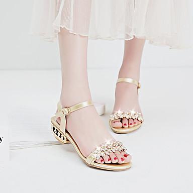 povoljno Ispod USD $12,99-Žene Sandale Otvoreno toe Štras / Umjetni biser / Kopča PU Udobne cipele / Gladijatorke Proljeće / Ljeto Zlato / Crn / Pink / EU39
