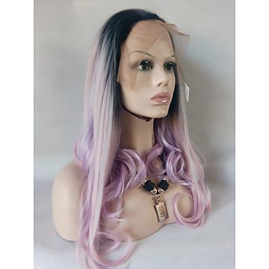 Szintetikus csipke front parókák Természetes hullám Szintetikus haj Ombre haj / Balayage haj / Sötét hajtő Pink Paróka Női Hosszú Csipke eleje