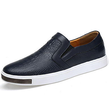 Men's Moccasin Leather Fall / Winter Comfort Loafers & Slip-Ons White / Black / Blue / Party & Evening