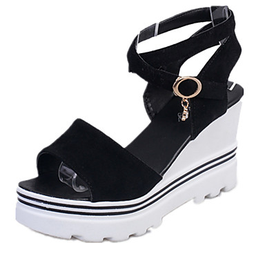 Damen Schuhe PU Sommer Keilabsatz Weiß / Rose Rot