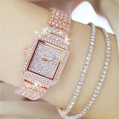 cheap Diamond Watches-Women's Luxury Watches Diamond Watch Gold Watch Japanese Quartz Stainless Steel Silver / Gold / Rose Gold 30 m Casual Watch Analog Ladies Charm Fashion Bling Bling - Gold Silver Rose Gold