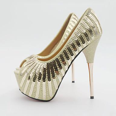 Chaussures Paillette ouvert Nouveauté Paillettes mariage Femme de Or Chaussures Polyuréthane 06318185 Printemps Automne Confort Bout P0pqH17w