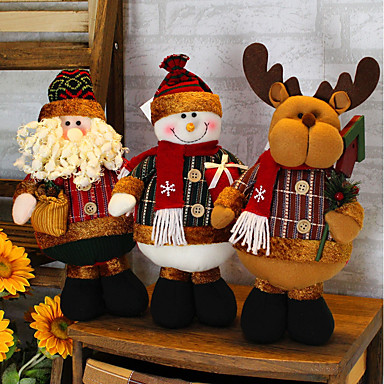 2019 Merry Christmas Tree Ornaments Cartoon Christmas Doll Children Snowflake Plaid Santa Claus Elk Doll for Home New Year Gifts