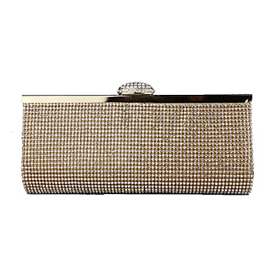 billige Vesker-Dame Krystalldetaljer Kunstlær Clutchveske Rhinestone Crystal Evening Bags Gull / Svart / Sølv