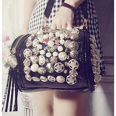 Women's Bags Cowhide Tote Zipper Black