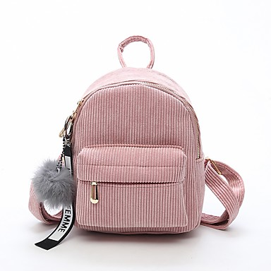 df59d2ad937302 Women's Bags Velvet Commuter Backpack Zipper Black / Blushing Pink / Fall &  Winter