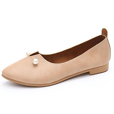 Mujer Zapatos PVC Primavera verano Mocasín Bailarinas Tacón Plano Dedo redondo Pajarita Dorado / Blanco / Negro EK8vy9xD