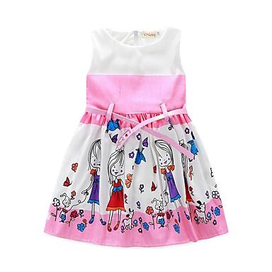 Χαμηλού Κόστους Ρούχα για Κορίτσια-Νήπιο Κοριτσίστικα Κινούμενα σχέδια Καθημερινά Κινούμενα σχέδια Αμάνικο Πολυεστέρας Φόρεμα Ανθισμένο Ροζ