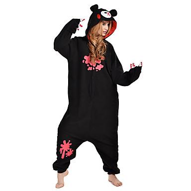 Pyžama Kigurumi Zmrzlý medvěd Medvěd Mýval Pyžamo Onesie Kostým polar fleece Černá Cosplay Pro Dospělé Animal Sleepwear Karikatura