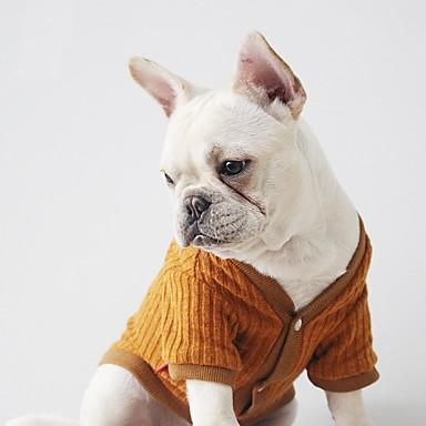 76ab3d343e8e Χαμηλού Κόστους Ρούχα για σκύλους-Σκύλος Πουλόβερ Ρούχα για σκύλους  Μονόχρωμο Μαύρο Καφέ Πούπουλα Βαμβάκι