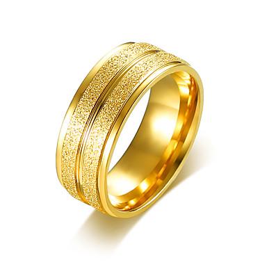 voordelige Heren Ring-Heren Bandring Verlovingsring Groefringen Roestvast staal Verguld Eenvoudig Standaard Modieuze ringen Sieraden Goud / Zilver Voor Bruiloft Feest 7 / 8 / 9 / 10 / 11