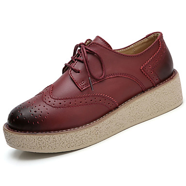 Women's Shoes Rubber Fall Comfort Oxfords Round Toe Lace-up for Outdoor Black Light Brown Burgundy