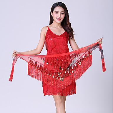 Belly Dance Hip Scarves Women's Performance Polyester Sequin Tassel Hip Scarf