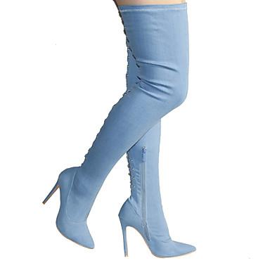 Mujer Zapatos Vaquero Invierno Botas de Moda Botas Tacón Cuadrado Dedo redondo Botas altas Azul Oscuro / Azul Claro OxWlL