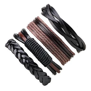 abordables Bracelet-Bracelets Plusieurs Tours Bracelets en cuir Homme Femme Corde tissé Cuir Bohème Bracelet Bijoux Noir Rond pour Décontracté Sortie
